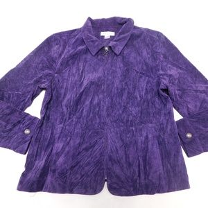 Christopher & Banks XLP Purple Corduroy Jacket  Po